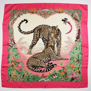 Hermès Jungle Love Leopard Pink Silk Scarf